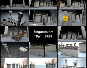 Berlin Wall 3D Model Package eingemauert
