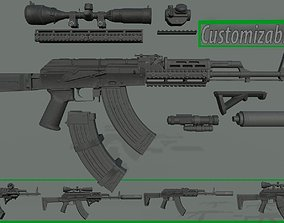 Customizable AKM rifle LowPoly PBR 3D model