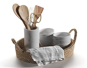 Basket with Utensils and Napkins 3D