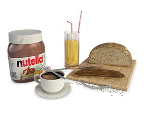 3D Breakfast Chocolat and Spread