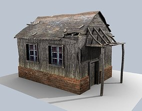 3D asset low poly damaged house