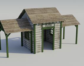3D model Western Train Station - Low-poly PBR