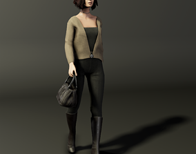 Low-poly girl 3D asset figure