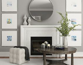 Fireplace and Decor 2 gray 3D