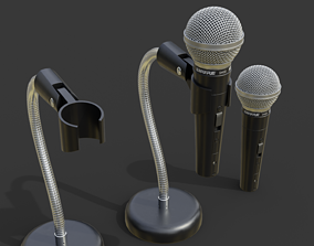 3D model Microphone and stand handle