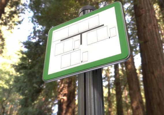 Low-poly sign for hydrant green with post and frame