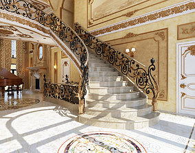 Interior classical mansion 3D stair