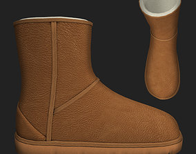 3D asset Winter boots in Caribou emu shoes