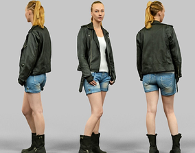 Woman wearing Leather Jacket and shorts 3D asset