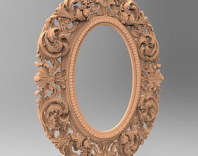 Carved CNC 3D print model of mirror frame relief