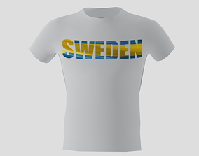 Low poly Sweden shirt white colour 3D asset