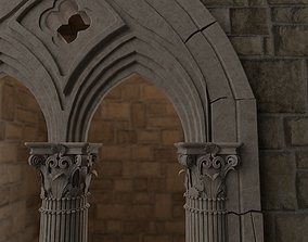 Classical medieval mullioned 3D asset