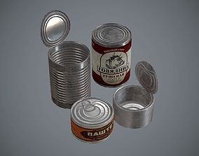 Tin cans with stickers 3D asset