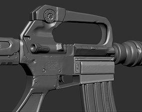 M16 Rifle Game Ready and High Resolution Sculpt 3D asset