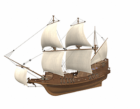 3D model Sea sailing ship Golden Hind