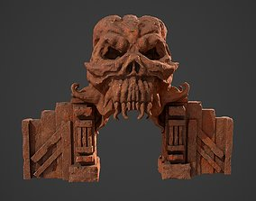 Fantasy red rocky arch with skull environment 3D model