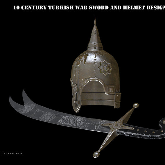 old war helmet and sword design