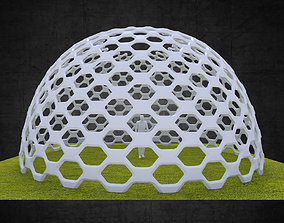 3D model Dome structure hexagonal panels geodesic style