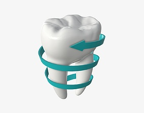 3D PBR Tooth molars with arrow 03