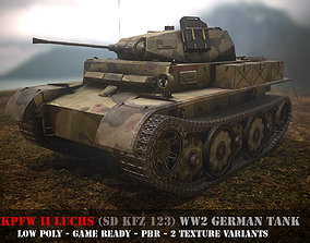 rigged Pz II Luchs - WW 2 German Tank - Game Ready - PBR 2