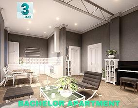 game-ready Bachelor Studio Apartment Scene - 3DS MAX