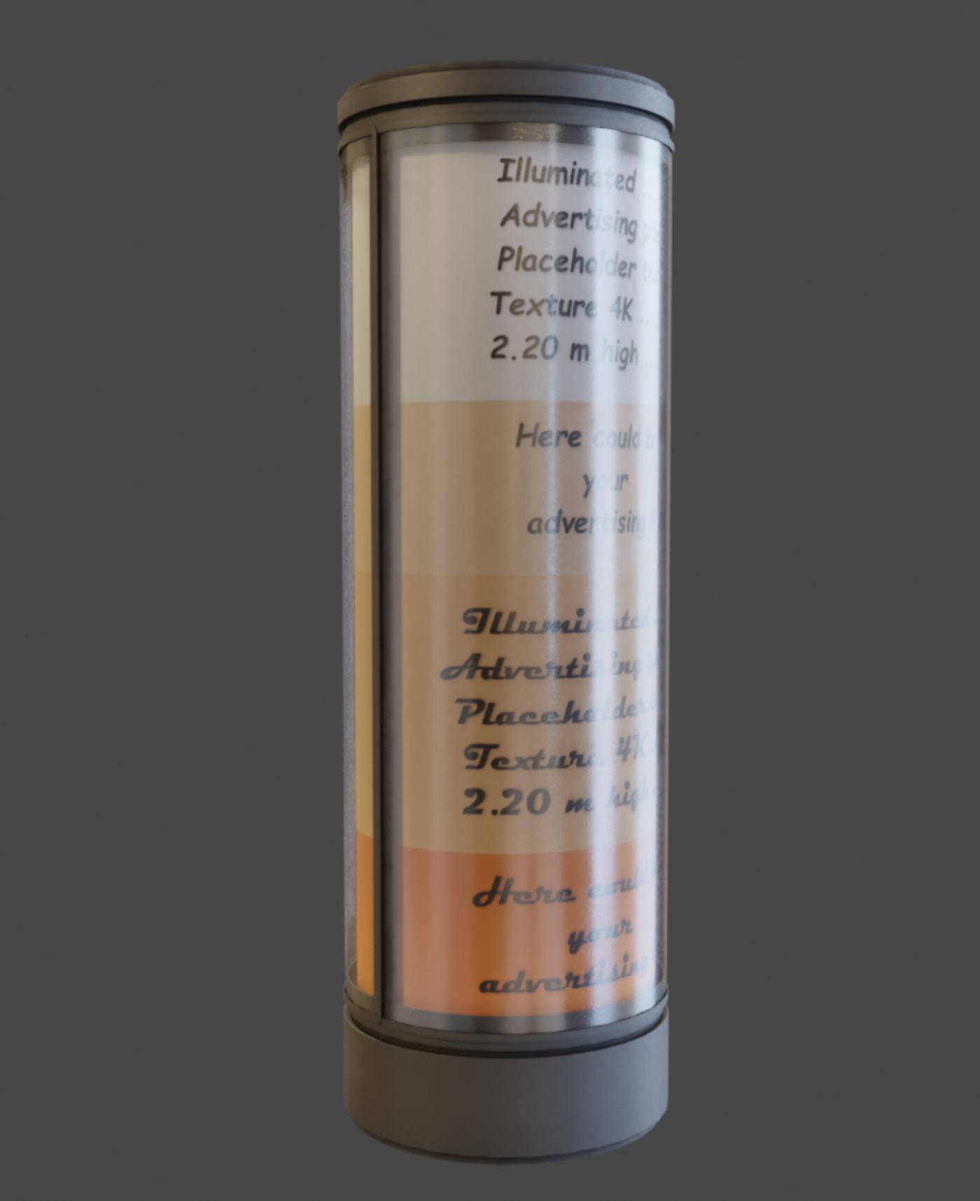 Modern Illuminated Advertising Pillars (Blender-2-90-1 Eevee)