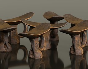 3D model Headrest Africa Wood Furniture Prop 9