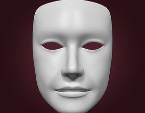 Male Theater Mask with Neutral Expressions 3D