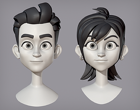3D Male and female cartoon characters base mesh