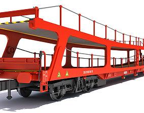 3D model Car Transporter Railroad Wagon