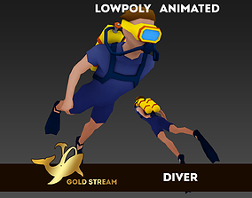 Diver animated 3D model