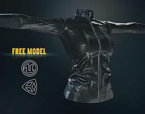game-ready Female Leather Jacket-Free Model