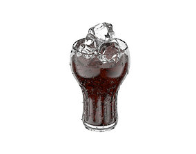 Cola Glass with Ice 3D