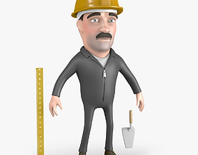 Builder Cartoon Character 3D