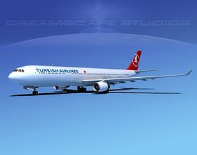 3D Airbus A330-300 Turkish Airlines