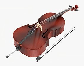 Acoustic cello red 3D
