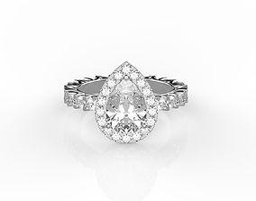 diamond Pear shaped engagement ring 3D print model
