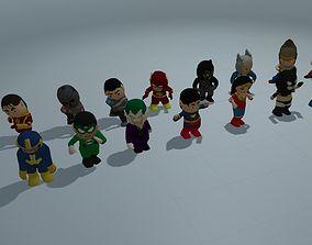 3D asset Low Poly Super Heros