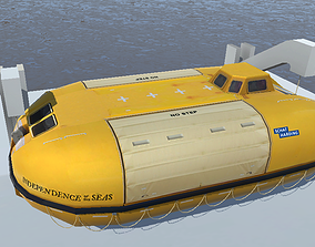 Lifeboat of Independence f the Seas 3d low-poly game-ready