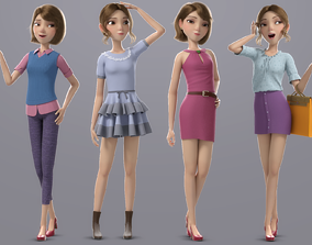 Cartoon Girl Rigged 3D PBR girl