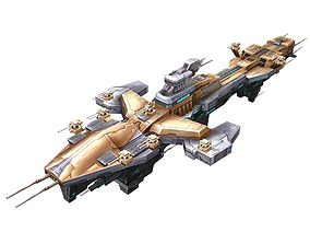 Extra large fortress type - big spaceship 02 3D model