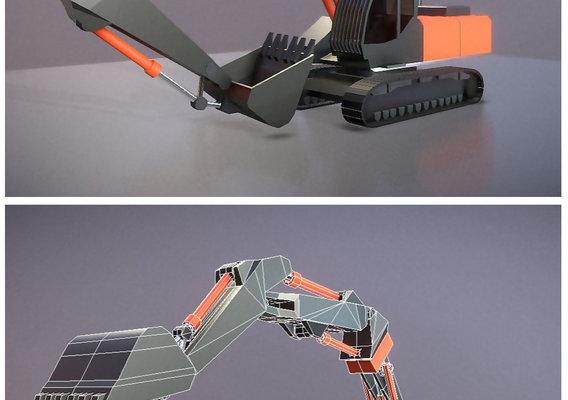 Low-Poly Excavator Construction Vehicle