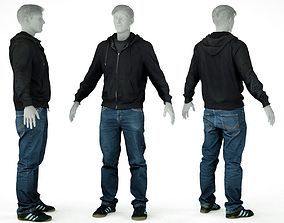 Male Casual Outfit 18 Hoodie Jeans Shoes 3D asset
