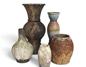 Old Rustic Decor Vase Set 3D model