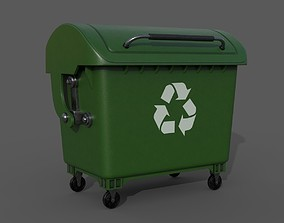 3D Detailed Garbage Container - SubD