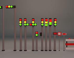 3D model Traffic lights pack Low-poly game ready