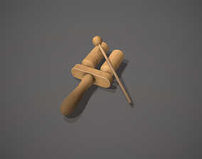 Wooden Agogo with Beater - Percussion Instrument 3D model