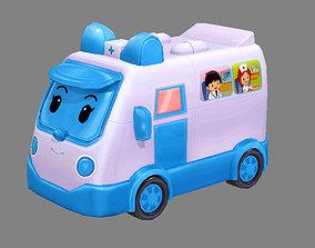 Cartoon toy medical ambulance 3D asset