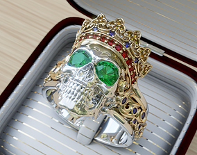 3D printable model Skull king ring