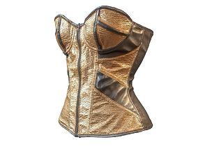 3D model Golden corset with leather details